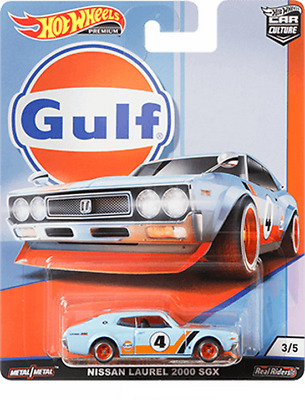 Hot Wheels 2019 Car Culture Gulf Oil Racing Nissan Laurel 2000 SGX 1/64 Scale