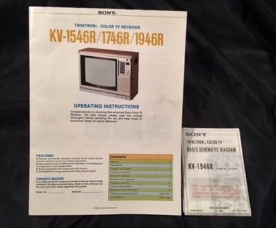 SONY TV TRINITRON owner manual, schematic diagram +rare TV converter box  letter