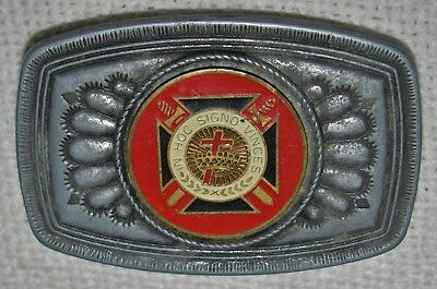 "Knights Templar Freemasons Sand Cast Native Am Belt Buckle ""in Hoc Signo Vinces"""