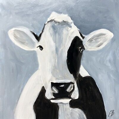 Elizabeth Barrett Original Oil Painting COW Farmhouse Decor Art 6 X 6
