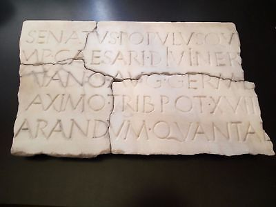 Extraordinary Big Roman Marble With Inscriptions. Total Of 4 Fragments
