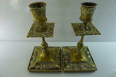 Antique Rare Pair Of Solid Decorated Brass Devil Figures ? Candle Stick Holders