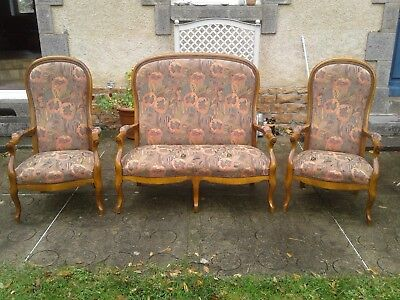 French antique vintage Louis Philippe style 3 piece suite