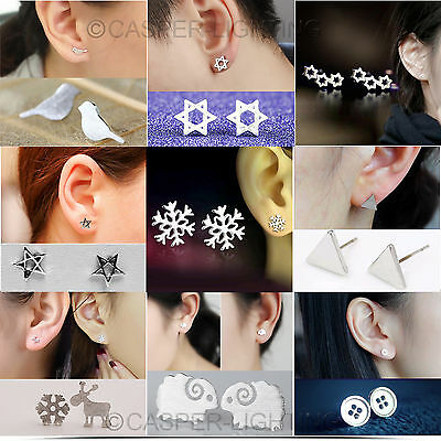 Pair Attractive Sterling Silver/Gold Wedding Party Work Casual Ear Stud Earrings
