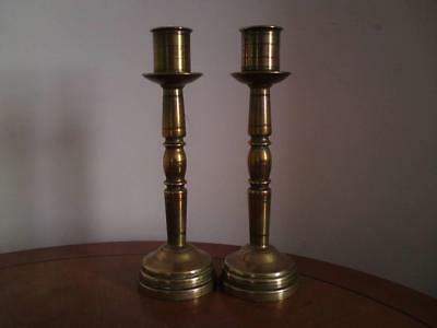 Rare heavy antique pair solid Brass Trench Art Candlesticks with drip tray pans