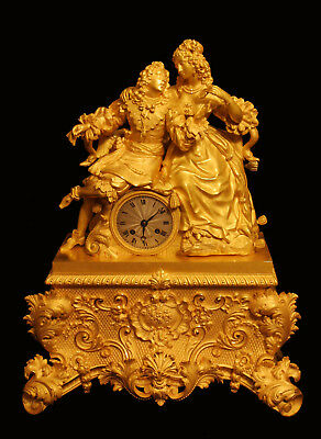 "Antique French Gold Plated Bronze Louis Xvi Mantel Clock By ""chavanon A Rennes"""