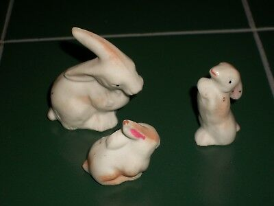 1930s Japan Bisque Porcelain Miniature Mother & 2 Babies Bunny Rabbit Figurines