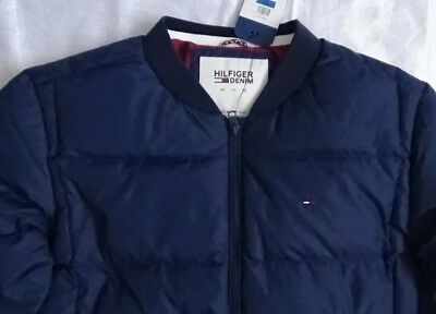 d988b2bc47a0 New Tommy Hilfiger Denim Mens Bomber Jacket Filled Quilted XL   TG Navy Blue