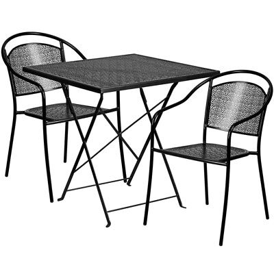 Flash Furniture Contemporary Table Chair Set In Black CO-28SQF-03CHR2-BK-GG