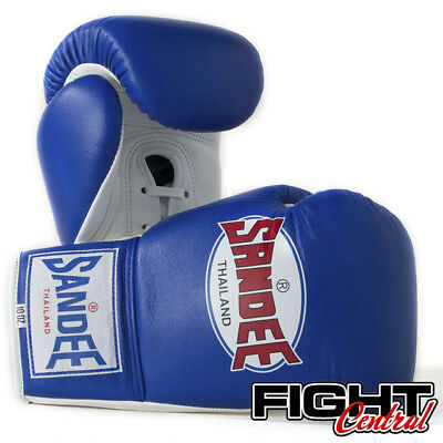 Sandee Pro Lace Up Boxing Gloves - Blue - FREE P&P - Muay Thai, MMA, Boxing