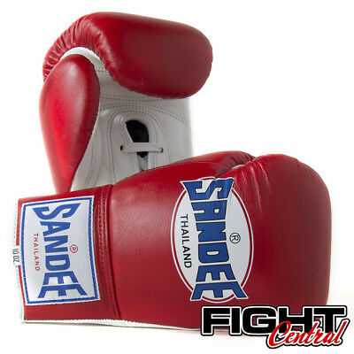 Sandee Pro Lace Up Boxing Gloves - Red - FREE P&P - Muay Thai, MMA, Boxing