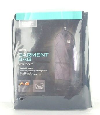"""Living Solutions Deluxe Garment Bag With Pocket 3"""" x 22"""" x 42"""" New Travel (O1)"""