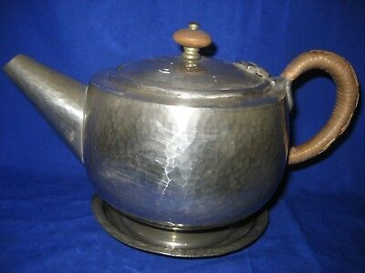 PEWTER Arts & Crafts LIBERTY TUDRIC   TEAPOT with Plate  Stand Leadless Pewter