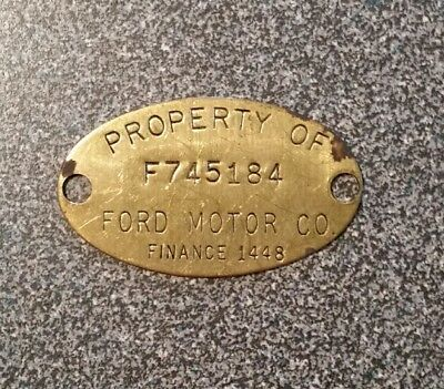 Vintage Old Brass Property Tag F745184: FORD MOTOR CO. Ford Finance 1448