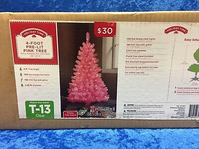 HOLIDAY TIME PINK 4\' Pre-Lit Tree White Lights Christmas ...