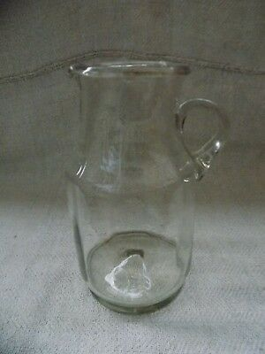 """Antique Hutsuls hand blown glass large Jug 19thC H=24cm/10"""" Great condition RARE"""