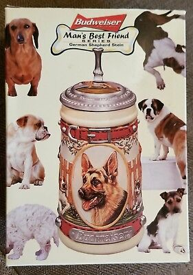 "Budweiser Stein ""Man's Best Friend"" Series German Shepherd, 8"" New in Box"