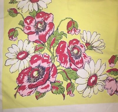 Vtg Cotton Tablecloth Daisy Rose Pink Kitchen Yellow Bright Colors