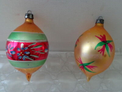 """Lot of 2 / Vintage Fantasia  Glass Ornaments - Large Teardrops 4"""" - Hand Painted"""