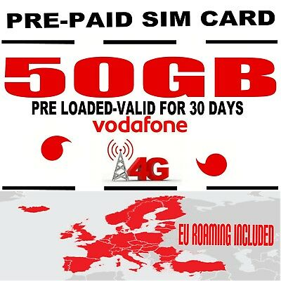 Vodafone 4G PAYG 30 DAY INTERNET DATA SIM CARD Uk+EU Spain Poland ROAMING 50Gb