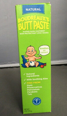 Boudreaux's Butt Paste All Natural Diaper Rash Ointment 4 Oz (Brand New)