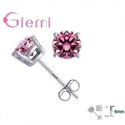 GIEMI Big Sale 925 Sterling Silver Cubic Zirconia Stud Earrings Luxury CZ