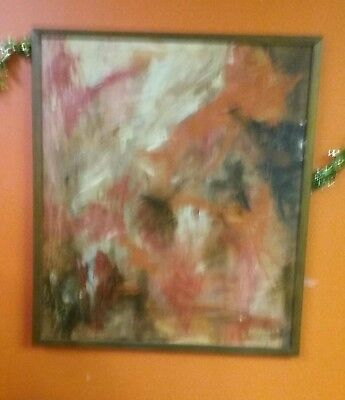 Vtg MID CENTURY MODERN SIGNED OIL ABSTRACT PAINTING
