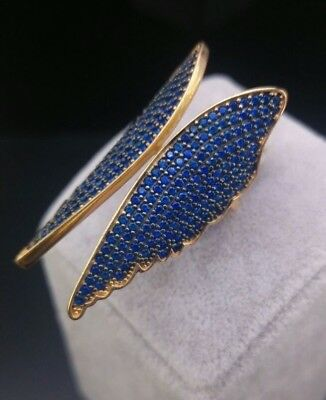 925 Silver - Rose Gold Jewelry AAA Quality Micro-Pave Sapphire Angel Wings Rings