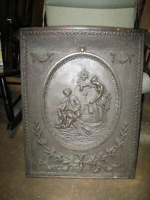 Antique Victorian Cast Iron Fireplace Insert/Summer Cover Man and Women with Dog