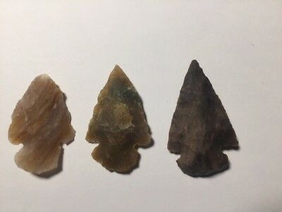3 x neolithic stone arrow heads ancient Carved Chiselled Hunting tool Joblot
