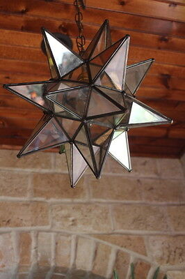 """Moravian  star 13.5"""" clear/ antique mirror glass star with ceiling canopy"""