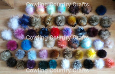 Pom Poms Detachable Faux Fur Pom Poms for Hats 52 colours Handmade in England