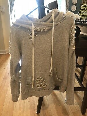 120cfbec3bd40 New Alo Yoga Ripped French Terry Pullover Hoodie Sweatshirt Cream Size  Medium
