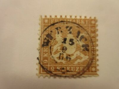 German States:  WURTTEMBERG  Scott  39  yellow brown  USED  G9  Cat $175