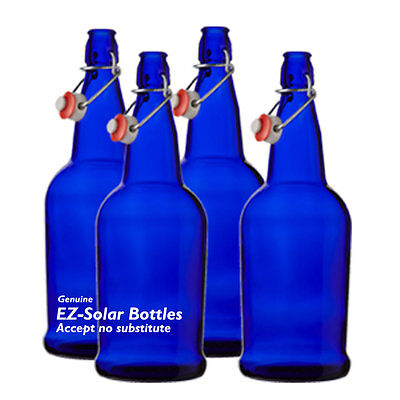 Blue Solar Water Bottles, Cobalt Blue Glass Bottles (1 liter), 4 Pack, NEW