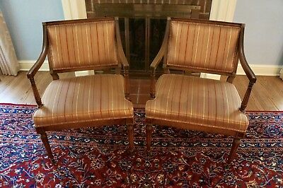 Pair Of antique mahogany Petite Frame Armchairs W/ Gold/red Pinstripe Upholstery