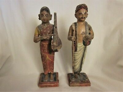 Antique Ganguar Figures, Ishar & Gauri,  Hand Carved Wood & Painted - India- 8""