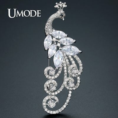 UMODE New Luxury CZ Animal Phoenix Brooches for Women Silver Color Fashion