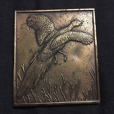 Brass Pheasant Hunting Belt Buckle Bergamont Game Bird Vintage 70s Sportsman