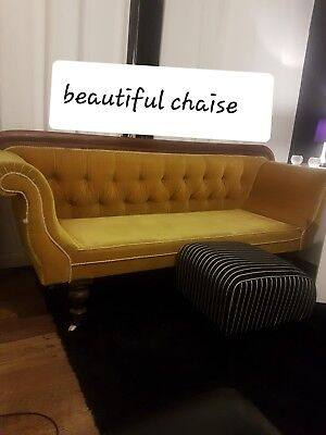 antique chaise lounge STUNNING COLOUR .