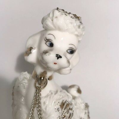 Vintage Napco White Spaghetti Poodle Two Puppies Chain Porcelain MCM with Tag