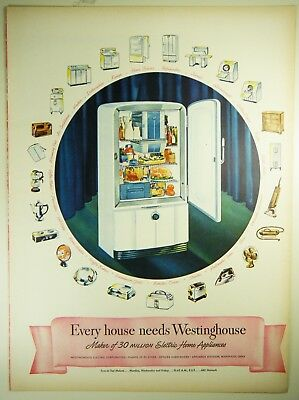 Vintage 1946 WESTINGHOUSE REFRIGERATOR Large Full Page Magazine Print Ad