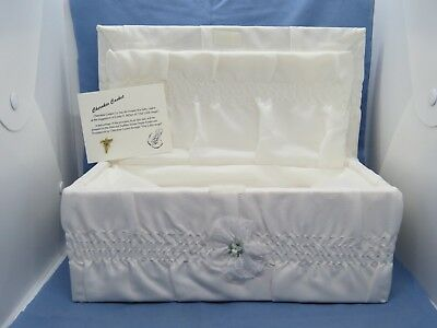 Vintage Funeral Infant Casket Satin Lined Covered Baby Coffin Cherokee Brand