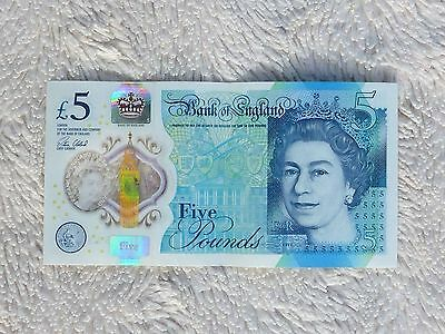 AC57 533479 Bank of England Polymer £5 Pound Note Genuine 2015 Multiple Errors