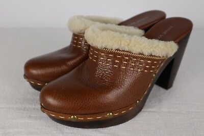 dcef874cb6d6b NINE WEST VINTAGE Women's Clogs Size 8 M Brown Leather Studded Fur Chunky  Heal