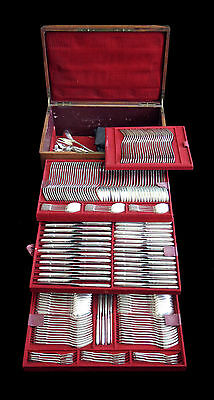 ANTIQUE FRENCH 304pcs. LOUIS XVI STERLING SILVER FLATWARE SET 1850-1899, LINZLER