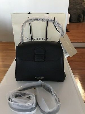 b4575f754 NWT Burberry Derby Leather House Check Small Camberley Tote Satchel Bag,  Black