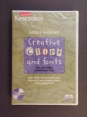 NEW-becky higgins creative clips and fonts-windows/mac CD-ROM-1000+ mixed media