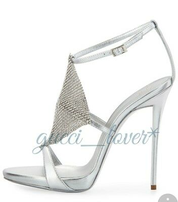 6b991c481bc Giuseppe zanotti silver Crystal heels sandals shoes pumps sz 36.5 (6.5)