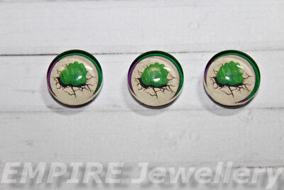 2 x The Hulk Super Hero 12x12mm Glass Cabochons Cameo Dome Avengers Bruce Banner